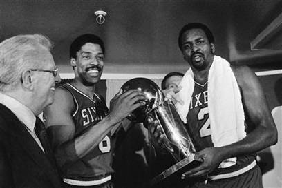 Sixers celebrating the 1983 Championship